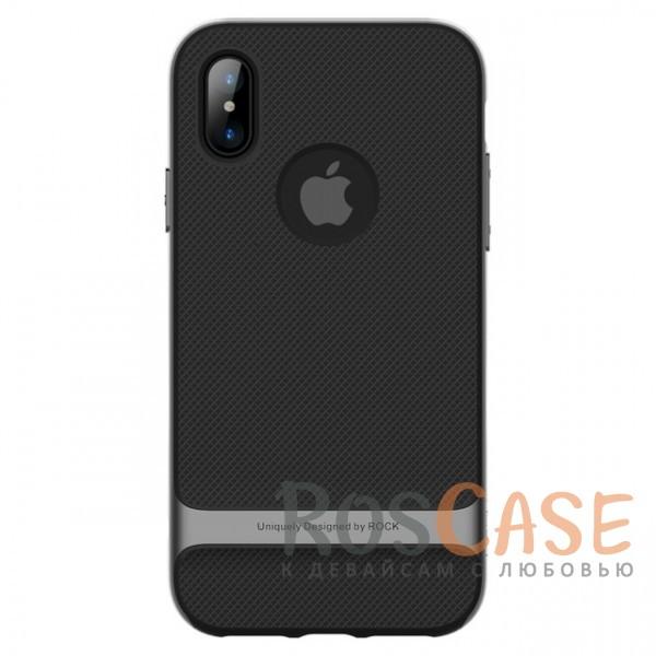 Двухслойный чехол для Apple iPhone X (5.8) (Черный / Серый)Описание:производитель -&amp;nbsp;Rock;совместимость - Apple iPhone X (5.8);материалы - термополиуретан, поликарбонат;двухслойная конструкция;защита от ударов;не заметны отпечатки пальцев;дублирующие клавиши защищают кнопки;защита камеры от царапин;предусмотрены все необходимые функциональные вырезы.<br><br>Тип: Чехол<br>Бренд: ROCK<br>Материал: TPU