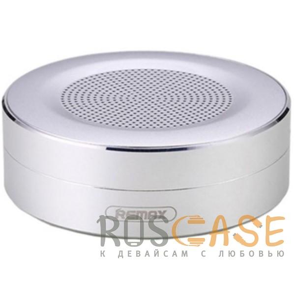 Фото Серебряный Remax RB-M13 | Портативная Bluetooth колонка круглой формы с кнопками управления