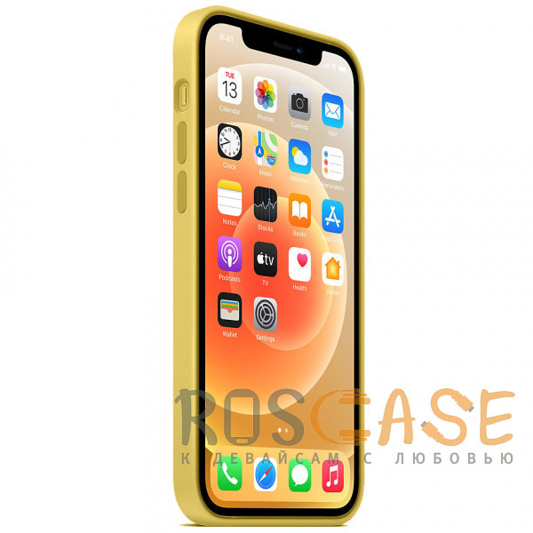 Изображение Желтый Силиконовый чехол Silicone Case с микрофиброй для iPhone 12 Mini