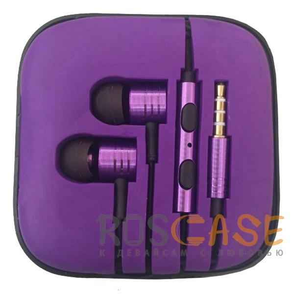 Фото Фиолетовый JX | Металлические наушники с плетеным проводом и пультом
