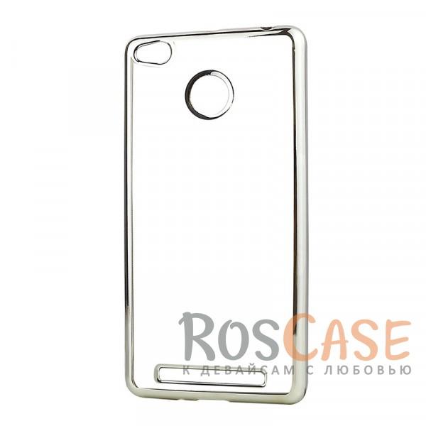 Прозрачный силиконовый чехол для Xiaomi Redmi 3 Pro / Redmi 3s с глянцевой окантовкой (Серебряный)Описание:материал - силикон;совместим с Xiaomi Redmi 3 Pro / Redmi 3s&amp;nbsp;;тип - накладка.Особенности:прозрачный;глянцевая окантовка;все вырезы предусмотрены;защищает от царапин и потертостей;тонкий дизайн;плотно облегает корпус.<br><br>Тип: Чехол<br>Бренд: Epik<br>Материал: TPU