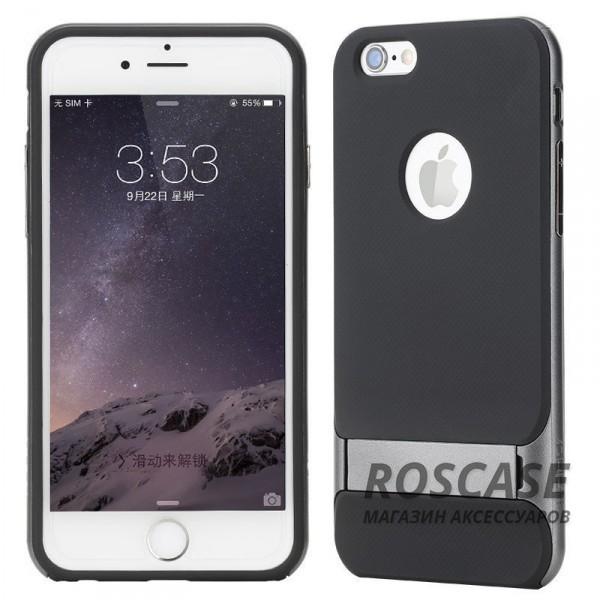 TPU+PC чехол Rock Royce Series с функцией подставки для Apple iPhone 6/6s plus (5.5) (Черный / Серый)Описание:изготовитель: компания&amp;nbsp;Rock;совместим с Apple iPhone 6/6s plus (5.5);произведен из термопластичного полиуретана и качественного поликарбоната;тип крепления: накладка;поверхность: частично матовая, частично глянцевая.Особенности:защищает от повреждений при падениях;имеет двойную конструкцию;функция подставки;не скользит в руках.<br><br>Тип: Чехол<br>Бренд: ROCK<br>Материал: TPU