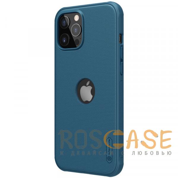 Фотография Синий Nillkin Super Frosted Shield Pro   Матовый пластиковый чехол для iPhone 12 / 12 Pro с отверстием под лого