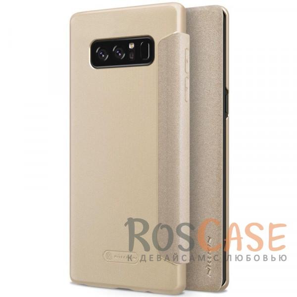 Кожаный чехол (книжка) Nillkin Sparkle Series для Samsung Galaxy Note 8 (Золотой)Описание:от компании&amp;nbsp;Nillkin;спроектирован для Samsung Galaxy Note8;материалы: поликарбонат, искусственная кожа;блестящая поверхность;не скользит в руках;предусмотрены все необходимые вырезы;защита со всех сторон;тип: чехол-книжка.<br><br>Тип: Чехол<br>Бренд: Nillkin<br>Материал: Искусственная кожа