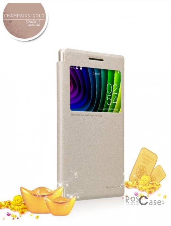 Кожаный чехол (книжка) Nillkin Sparkle Series для Lenovo P70 (Золотой)Описание:бренд -&amp;nbsp;Nillkin;совместим с Lenovo P70;материал: кожзам;тип: чехол-книжка.Особенности:защита от механических повреждений;не скользит в руках;окошко в обложке;не выгорает;тонкий дизайн.<br><br>Тип: Чехол<br>Бренд: Nillkin<br>Материал: Натуральная кожа