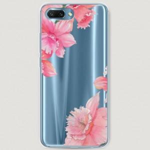 RosCase | Силиконовый чехол Розовые цветочные уголки на Huawei Honor 10