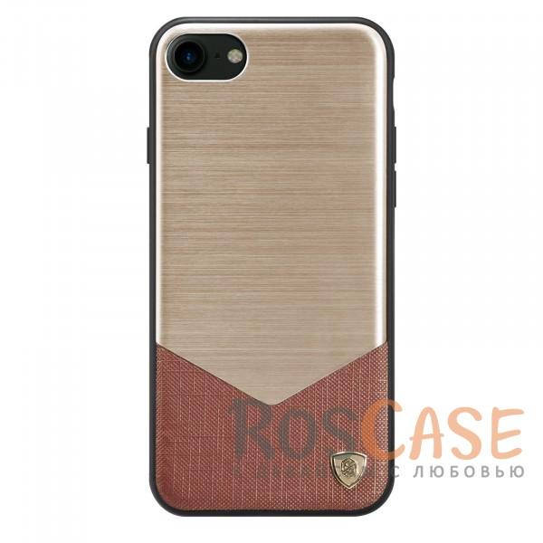 Металлическая накладка из шлифованного алюминия для Apple iPhone 7 / 8 (4.7) (Золотой)Описание:от компании&amp;nbsp;Nillkin;спроектирован для Apple iPhone 7 / 8 (4.7);материалы: поликарбонат, термополиуретан, металл, искусственная кожа;тип: накладка.&amp;nbsp;Особенности:сочетание маталла и искусственной кожи создают оригинальный стиль;защищает от царапин и потертостей;обладает свойством анти-отпечатки;не скользит в руках и имеет хорошее сцепление с поверхностями;защищает заднюю панель и боковые грани.<br><br>Тип: Чехол<br>Бренд: Nillkin<br>Материал: Металл