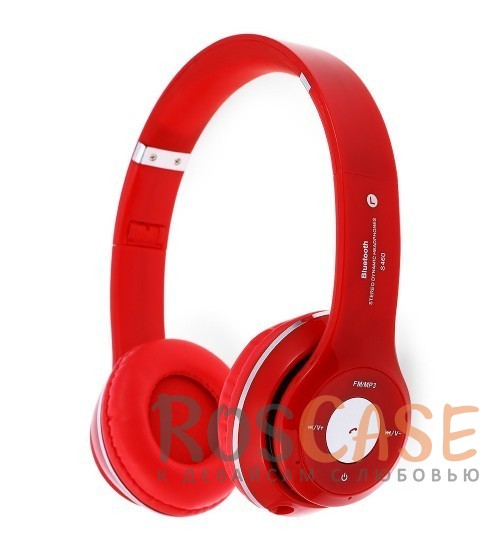 Фото Красный TM-012S   Беспроводные наушники Bluetooth с микрофоном и разъемом для карты памяти