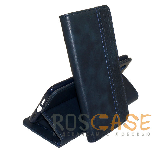 Фото Темно-синий Business Wallet   Кожаный чехол книжка с визитницей для Huawei Y8P / P Smart S