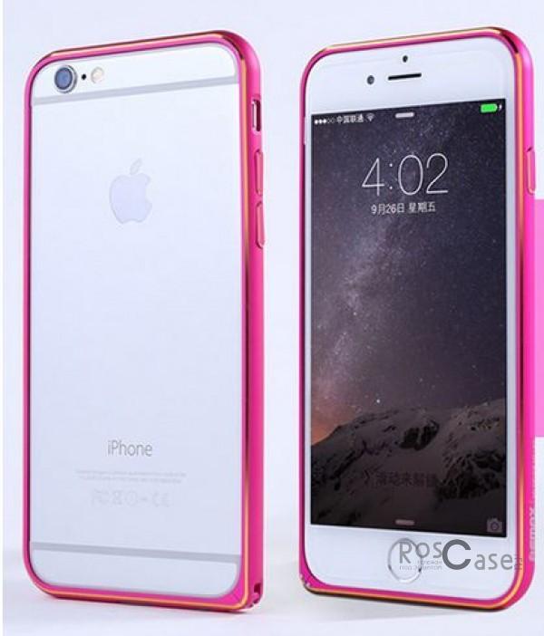 Металлический бампер Remax (защелка) для Apple iPhone 6/6s (4.7) (Розовый)Описание:производитель  - &amp;nbsp;Remax;совместимость  -  Apple iPhone 6/6s (4.7);материал  -  металл;тип  -  бампер.&amp;nbsp;Особенности:имеет все нужные вырезы;тонкий дизайн;не деформируется;надежное крепление;защита боковых кнопок.<br><br>Тип: Бампер<br>Бренд: Remax