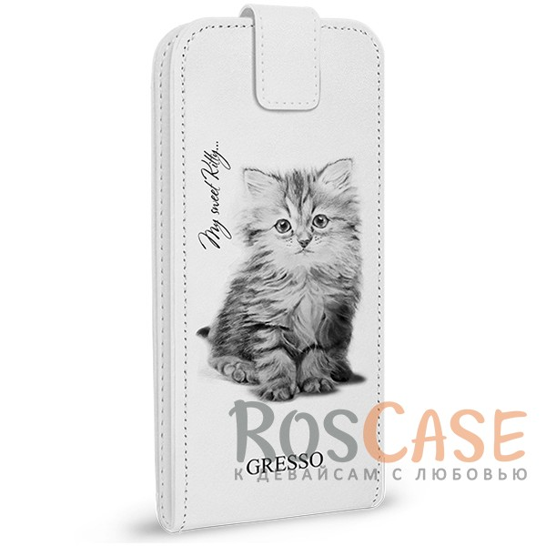Универсальный чехол-флип Gresso Пушистики-котенок для смартфона 4.9-5.2 дюйма<br><br>Тип: Чехол<br>Бренд: Gresso<br>Материал: Искусственная кожа