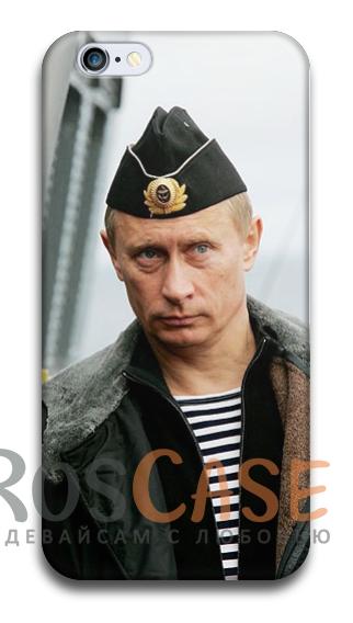 """Фото В тельняшке Пластиковый чехол RosCase """"Путин"""" для iPhone 4/4S"""