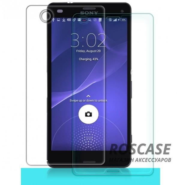 Антибликовое защитное стекло с олеофобным покрытием анти-отпечатки для Sony Xperia Z3 CompactОписание:компания&amp;nbsp;Nillkin;создано для Sony Xperia Z3 Compact;материал: закаленное стекло;тип: защитное стекло.&amp;nbsp;Особенности:повторяет форму экрана;тонкое и прозрачное;покрытие анти-блик;твердость - 9H;толщина - &amp;nbsp;0,3 мм;защита от ударов и царапин;олеофобное покрытие;в комплекте пленка на камеру и на заднюю панель.<br><br>Тип: Защитное стекло<br>Бренд: Nillkin