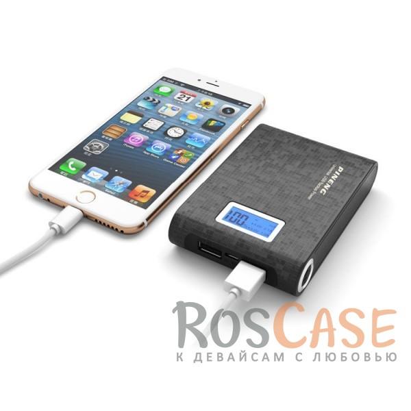 Фотография Черный Портативное зарядное устройство в противоударном обтекаемом корпусе с ЖК дисплеем и LED-фонариком 10000mAh (2 USB)