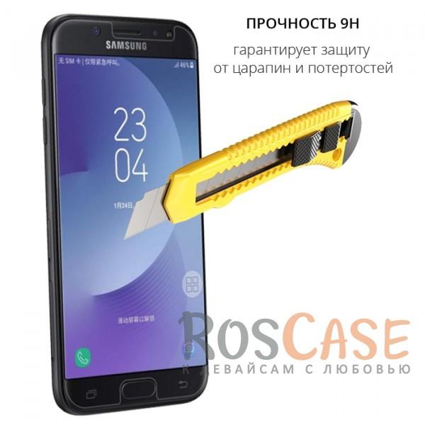 Изображение Прозрачное защитное стекло с закругленными краями и олеофобным покрытием для Samsung J730 Galaxy J7 (2017)