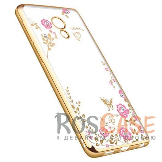 Фотография Золотой/Розовые цветы Прозрачный чехол со стразами для Meizu M5 с глянцевым бампером