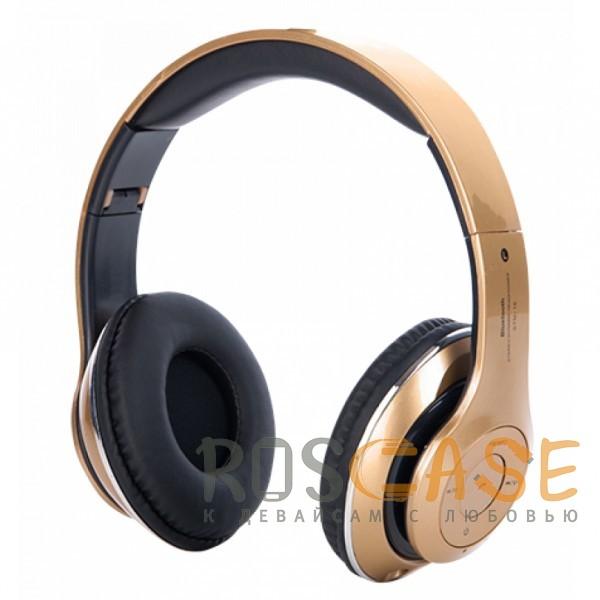 Беспроводные наушники Bluetooth с микрофоном (STN-16) (Золотой)Описание:тип - беспроводные наушники;совместимость - универсальная;подключение по Bluetooth;емкость аккумулятора  -  250 mAh;разъем для карты памяти;мощность&amp;nbsp; -  40 МВт;диапазон частот&amp;nbsp; -  20 Гц  -  20 КГц;радиус действия - до 10 м;диаметр динамиков&amp;nbsp; -  40 мм;складная конструкция;микрофон и кнопка ответа на вызов;время зарядки - 2-3 часа;пульт для управления.<br><br>Тип: Наушники/Гарнитуры<br>Бренд: Epik
