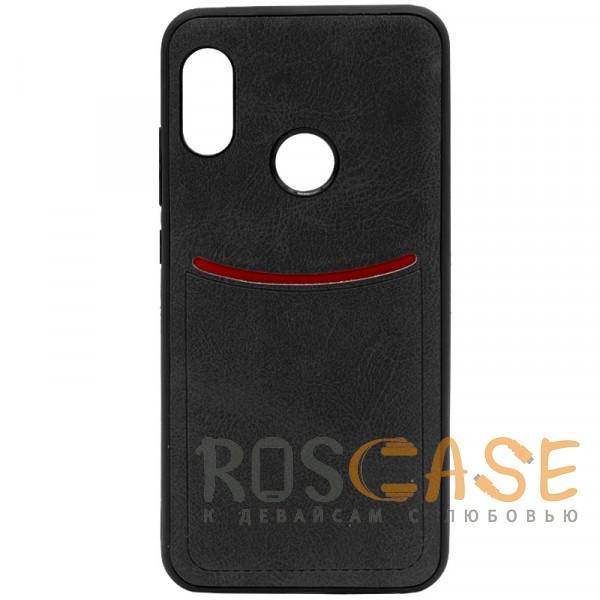 Фото Черный ILEVEL   Чехол с кожаным покрытием и с карманом-визитницей для Xiaomi Mi A2 Lite / Xiaomi Redmi 6 Pro