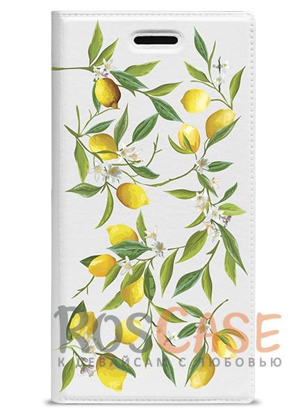 """Фото Универсальный яркий чехол-книжка с рисунком лимонов Gresso """"Лимонад-лимоны"""" для смартфона 5.1-5.3 дюйма"""