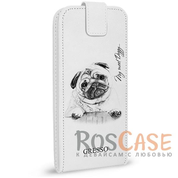 Универсальный чехол-флип Gresso Пушистики-щенок для смартфона 4.9-5.2 дюйма (Белый)<br><br>Тип: Чехол<br>Бренд: Gresso<br>Материал: Искусственная кожа