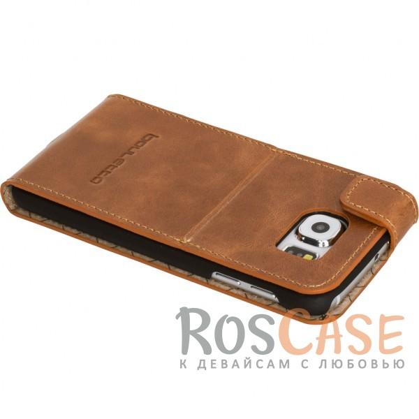 Фотография Вертикальный чехол-флип из натуральной кожи с функцией подставки и магнитной застежкой для Samsung Galaxy S6 (G920F)