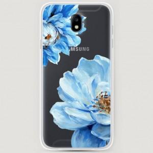 RosCase | Силиконовый чехол Голубые клематисы на Samsung J730 Galaxy J7 (2017)
