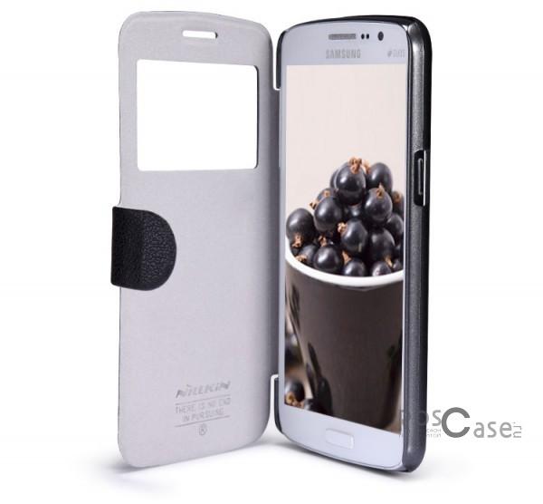 Кожаный чехол (книжка) Nillkin Fresh Series для Samsung G7102 Galaxy Grand 2 (Черный)Описание:компания-производитель  -  Nillkin;предназначен для Samsung G7102 Galaxy Grand 2;изготовлен из качественной синтетической кожи;форм-фактор  -  книжка.Особенности:наличие всех необходимых вырезов под функциональные кнопки телефона;не подвержен расслаиванию материала;широкая палитра цветов;удобное интерактивное окошко;полноценная и качественная защита телефона с двух сторон.<br><br>Тип: Чехол<br>Бренд: Nillkin<br>Материал: Пластик