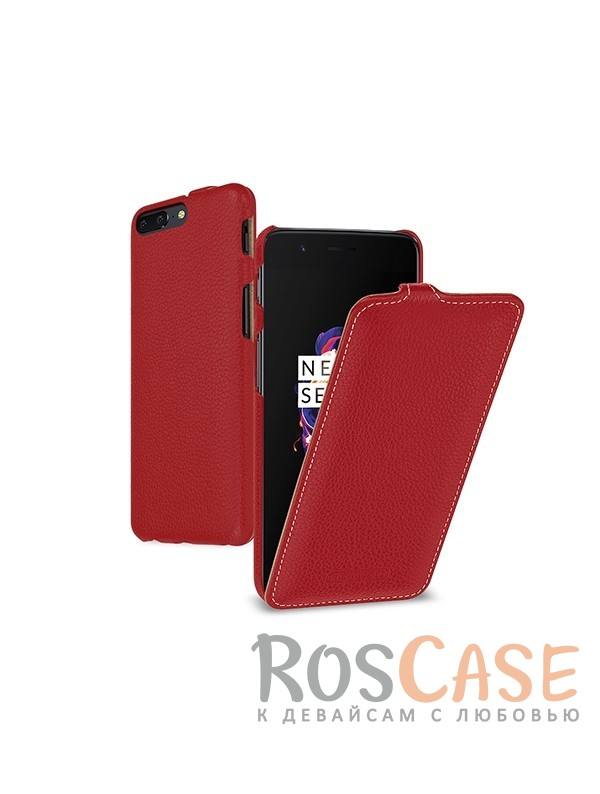 Фото Красный / Red TETDED натур. кожа | Чехол-флип для OnePlus 5