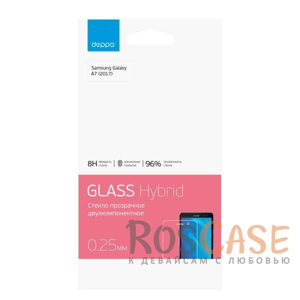 Защитное стекло Hybrid Deppa для Samsung A720 Galaxy A7 (2017) (Прозрачное)Описание:бренд - Deppa;совместимо с моделью смартфона Samsung A720 Galaxy A7 (2017);материал -&amp;nbsp;двухслойный гибридный материал (Тайвань);тип - защитное стекло на экран.<br><br>Тип: Защитное стекло<br>Бренд: Epik