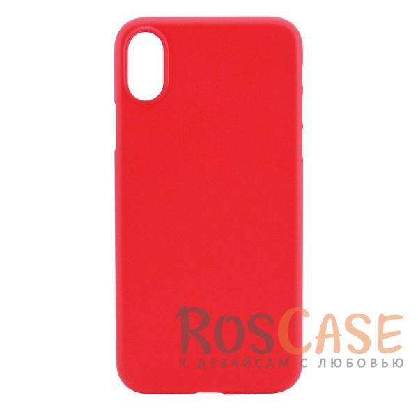 Ультратонкий матовый чехол-накладка ROCK Naked Shell для Apple iPhone X (5.8) (Красный / Red)Описание:производитель -&amp;nbsp;Rock;совместимость - Apple iPhone X (5.8);материал - гибкий пластик;тонкий дизайн - 0,45 мм;матовая поверхность;защитные бортики вокруг камеры;формат - накладка;защита от царапин, потертостей и сколов;на чехле не заметны отпечатки пальцев;не скользит в руках;предусмотрены все функциональные вырезы.<br><br>Тип: Чехол<br>Бренд: ROCK<br>Материал: Пластик