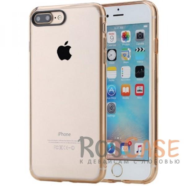 TPU+PC чехол Rock Pure Series для Apple iPhone 7 plus (5.5) (Золотой / Transparent Gold)Описание:изготовлен компанией&amp;nbsp;Rock;совместим с Apple iPhone 7 plus (5.5);материалы  -  термополиуретан, поликарбонат;тип  -  накладка.&amp;nbsp;Особенности:ультратонкий;в наличии все функциональные вырезы;прозрачная;черная окантовка вокруг камеры для отсутствия блика от вспышки;не скользит в руках;рамка из поликарбоната;защита от царапин и ударов.<br><br>Тип: Чехол<br>Бренд: ROCK<br>Материал: TPU