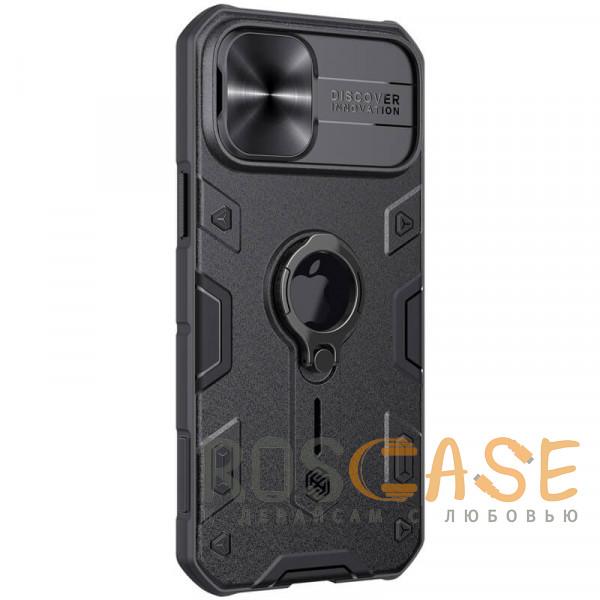 Изображение Черный Nillkin CamShield Armor | Противоударный чехол с защитой камеры и кольцом для iPhone 12 Pro Max с отверстием под лого