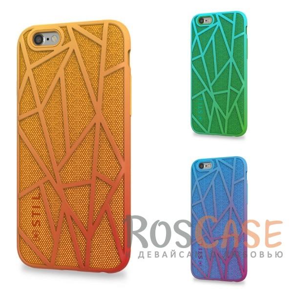 Красочный защитный чехол из пластика и ткани STIL Free Run с градиентной расцветкой для  Apple iPhone 6/6s (4.7)Описание:создан компанией&amp;nbsp;STIL;разработан с учетом особенностей&amp;nbsp;Apple iPhone 6/6s (4.7);материалы - термополиуретан, поликарбонат, ткань;тип - накладка.Особенности:неповторимый стиль - яркий градиент;доступ ко всем функциям гаджета благодаря точным вырезам;защита от перегрева аппарата;защита от царапин и ударов;защита экрана благодаря выступающим бортикам;размеры - 143*72*11 мм, 22&amp;nbsp;гр.<br><br>Тип: Чехол<br>Бренд: Stil<br>Материал: TPU