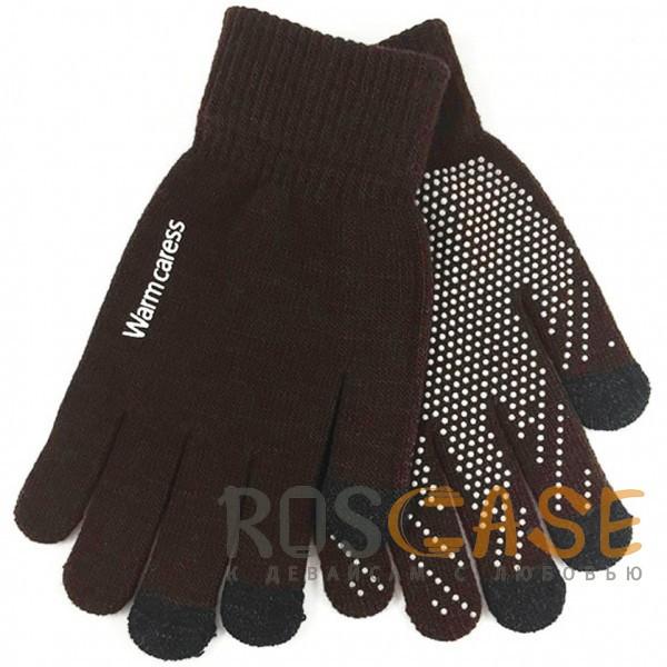 Изображение Коричневый Warm caress | Емкостные перчатки утепленные (нескользящие)