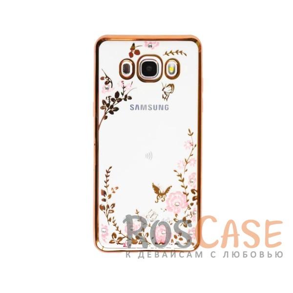 Прозрачный чехол с цветами и стразами для Samsung J510F Galaxy J5 (2016) с глянцевым бампером (Золотой/Розовые цветы)Описание:совместим с Samsung J510F Galaxy J5 (2016);материал - термополиуретан;тип - накладка.&amp;nbsp;Особенности:прозрачный;изящный рисунок;украшен стразами;защищает от царапин и ударов;не скользит в руках.<br><br>Тип: Чехол<br>Бренд: Epik<br>Материал: TPU