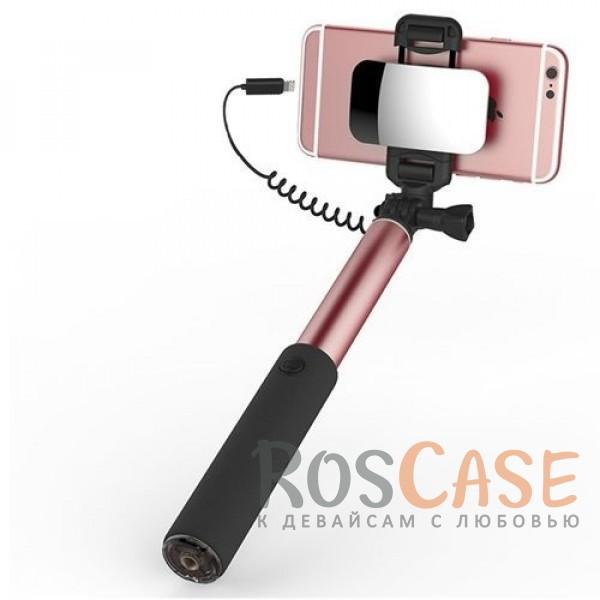 Телескопический монопод ROCK для селфи (кабель Lightning) + зеркало (Розовый / Rose Gold)Описание:производитель:&amp;nbsp;Rock;тип аксессуара: телескопический монопод;материал: алюминий и поликарбонат;совместимость: гаджеты с разъемом Lightning.Особенности:тип подключения: разъем Lightning;размер  -  24,5  -  90 см;не нужна батарейка;зеркало;выдвижная конструкция;вращающийся держатель;позволяет делать фотографии себя и своих друзей без посторонней помощи.<br><br>Тип: Моноподы<br>Бренд: ROCK