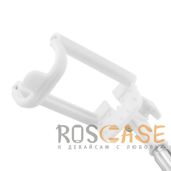Фотография Розовый S014   Телескопический монопод для селфи с лого и прорезиненной ручкой (кабель 3,5 mini jack)