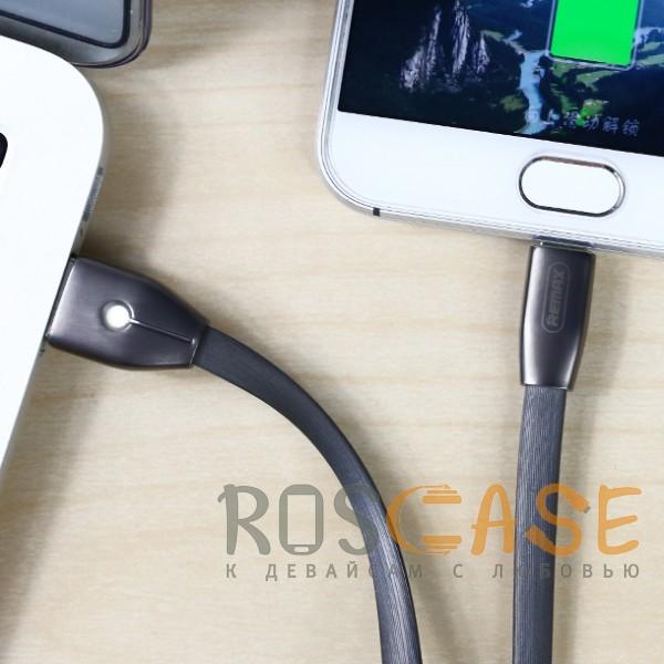 Фото Черный Remax RC-043m Knight | Дата кабель USB to MicroUSB со световым индикатором (100 см)