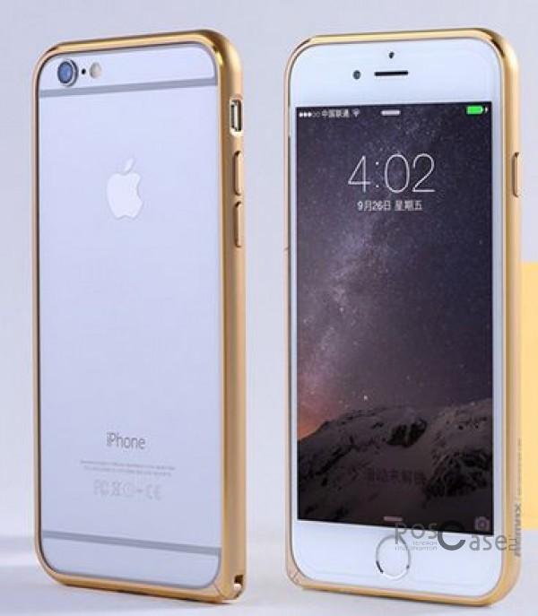 Металлический бампер Remax (защелка) для Apple iPhone 6/6s (4.7) (Золотой)Описание:производитель  - &amp;nbsp;Remax;совместимость  -  Apple iPhone 6/6s (4.7);материал  -  металл;тип  -  бампер.&amp;nbsp;Особенности:имеет все нужные вырезы;тонкий дизайн;не деформируется;надежное крепление;защита боковых кнопок.<br><br>Тип: Бампер<br>Бренд: Remax