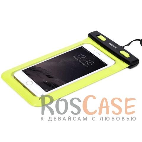 Водонепроницаемый чехол Rock (IPX8) (Зеленый / Green)Описание:производитель -&amp;nbsp;Rock;совместимость: смартфоны с диагональю до 6-ти дюймов;материал: поливинилхлорид,&amp;nbsp;мягкий пластик;тип: чехол;износостойкий;ультратонкий;защита от влаги;погружение от 1,5 до 30-ти метров;максимальное время погружения - 30 минут;размеры чехла: 18*10 см.<br><br>Тип: Чехол<br>Бренд: ROCK<br>Материал: Натуральная кожа