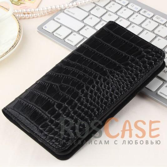 Кожаный чехол-книжка с имитацией кожи крокодила для Meizu M3 / M3 mini / M3s (Черный)<br><br>Тип: Чехол<br>Бренд: Epik<br>Материал: Искусственная кожа