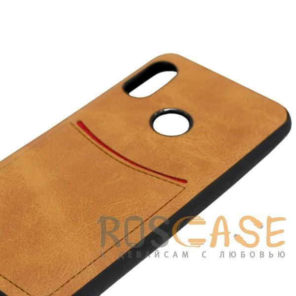 Фото Светло-коричневый ILEVEL | Чехол с кожаным покрытием и с карманом-визитницей для Huawei P Smart+ (nova 3i)