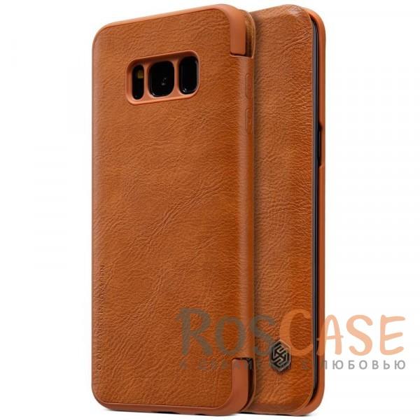 Чехол-книжка из натуральной кожи для Samsung G955 Galaxy S8 Plus (Коричневый)Описание:бренд&amp;nbsp;Nillkin;разработан для Samsung G955 Galaxy S8 Plus;материалы: натуральная кожа, поликарбонат;защищает гаджет со всех сторон;на аксессуаре не заметны отпечатки пальцев;карман для визиток и пластиковых карт;предусмотрены все необходимые функциональные вырезы;тонкий дизайн не увеличивает габариты девайса;тип: чехол-книжка.<br><br>Тип: Чехол<br>Бренд: Nillkin<br>Материал: Натуральная кожа