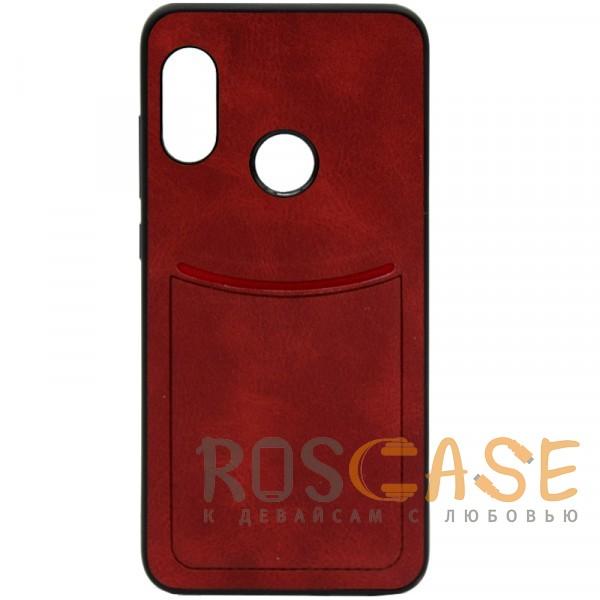 Фото Красный ILEVEL   Чехол с кожаным покрытием и с карманом-визитницей для Xiaomi Mi A2 Lite / Xiaomi Redmi 6 Pro
