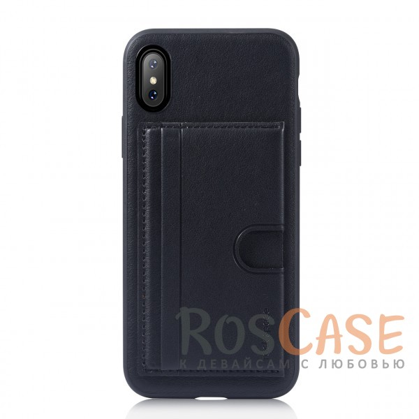 Стильный силиконовый чехол с внешним карманом для визиток для Apple iPhone X (5.8) (Черный / Black)Описание:бренд -&amp;nbsp;Rock;материалы - термополиуретан, искусственная кожа;совместимость - Apple iPhone X (5.8);формат - накладка;предусмотрен карман для визиток;защищает заднюю панель и боковые грани;функция подставки;не скользит в руках;все необходимые вырезы для полноценного использования устройства.<br><br>Тип: Чехол<br>Бренд: ROCK<br>Материал: Искусственная кожа
