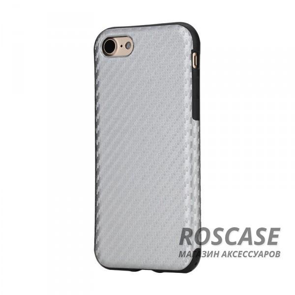Гибкий текстурный карбоновый чехол для Apple iPhone 7 plus / 8 plus (5.5) (Серебряный / Silver)Описание:производство бренда&amp;nbsp;Nillkin;разработана для Apple iPhone 7 plus / 8 plus (5.5);материал: термополиуретан, поликарбонат;тип: накладка.&amp;nbsp;Особенности:все функциональные вырезы имеются;прочный и износостойкий;не ухудшает качество сигнала;на нем не заметны отпечатки пальцев;не деформируется.<br><br>Тип: Чехол<br>Бренд: ROCK<br>Материал: Пластик