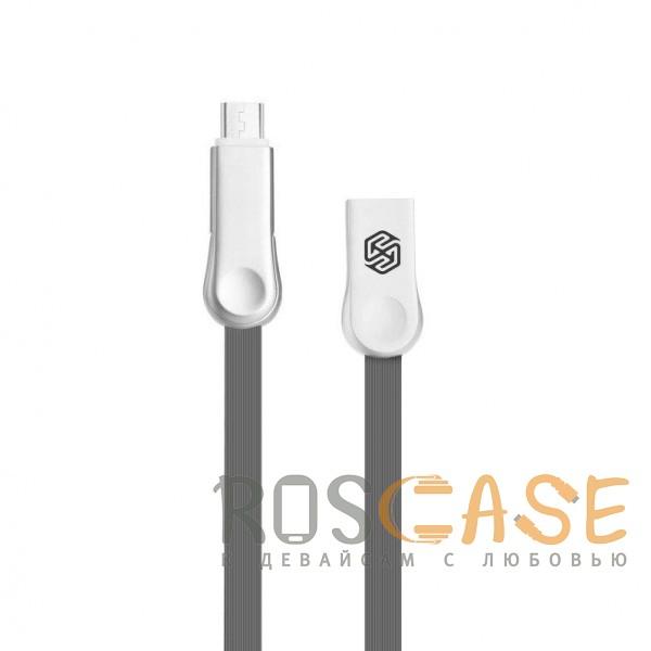 Фото Серый Nillkin Plus 3   Плоский кабель с разъемами MicroUSB и Type-C