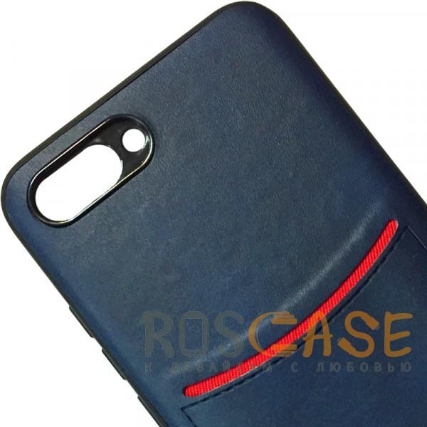 Фото Синий ILEVEL | Чехол с кожаным покрытием и с карманом-визитницей для Huawei Honor 10