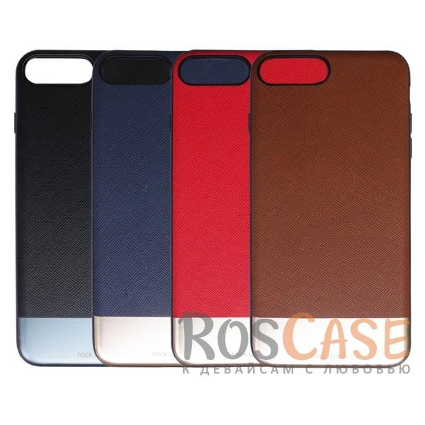 Текстурная кожаная накладка с блестящей металлической вставкой для Apple iPhone 7 plus / 8 plus (5.5)Описание:производитель  - &amp;nbsp;Rock;разработан для Apple iPhone 7 plus / 8 plus (5.5);материал  -  искусственная кожа, металл, поликарбонат;тип  -  накладка.&amp;nbsp;Особенности:металлическая вставка;в наличии все функциональные вырезы;не скользит в руках;амортизирует удары;защищает от механических повреждений.<br><br>Тип: Чехол<br>Бренд: ROCK<br>Материал: Искусственная кожа