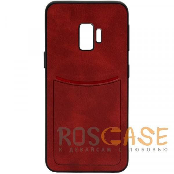 Фото Красный ILEVEL | Чехол с кожаным покрытием и с карманом-визитницей для Samsung Galaxy S9